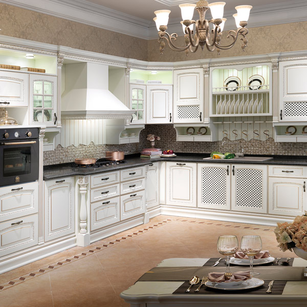 2014 New Style OPPEIN Birch Solid Wood Kitchen Cabinet Image