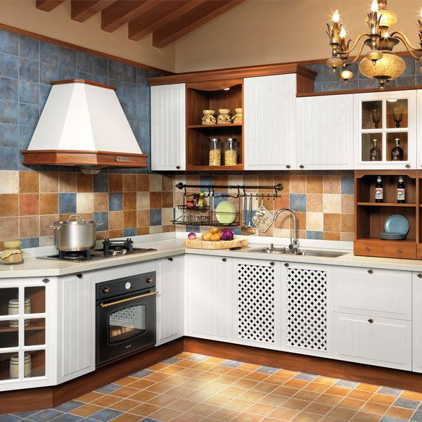 2014 New Arrivals OPPEIN White PVC finish Kitchen Cabinet Guangzhou Image