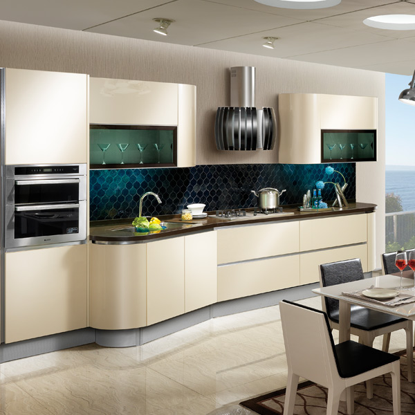 2014 New Arrival Laminate Kitchen Cabinet OPPEIN Gold Cabinets Image