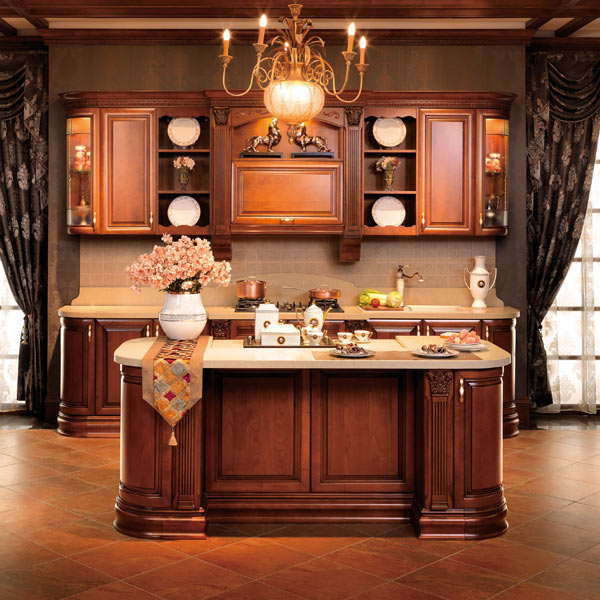 2014 Kitchen Cabinet Solid Wood Cabinets OPPEIN New Style Guangzhou Manufacture Image