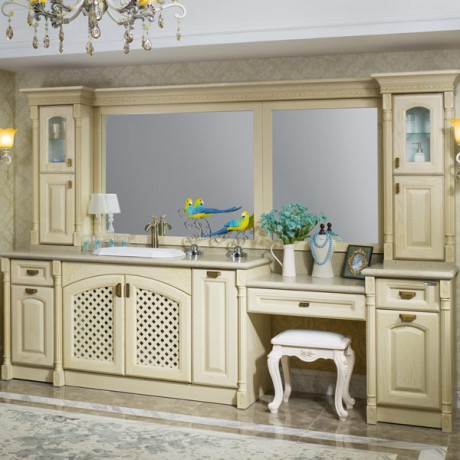2014 New 112.2 Inch Euro Style Solid Wood Carving Bathroom Cabinets Image