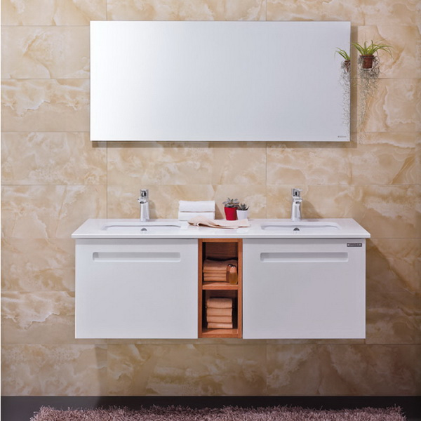 2015 Modern High Gloss Lacquer Two Ceramic Basins Bathroom Cabinet  Image