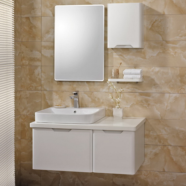 2017 Modern White Painted Plywood Bathroom Cabinet Image