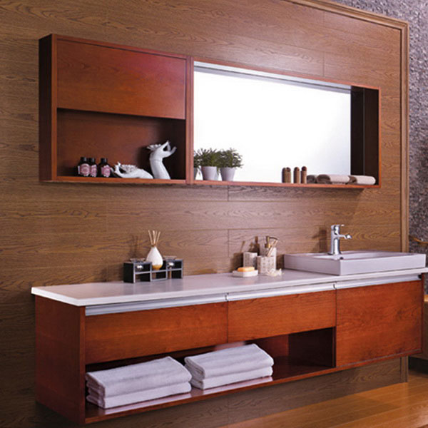 Beautiful 2015 Large Walnut Laminated Wood Bathroom Vanity For Export Image