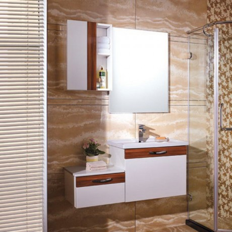2015 High Quality Oak White High Gloss Lacquer Bathroom Vanity Image