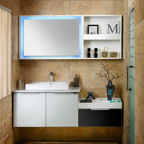 2015 New Style Fashion Black and White Tempered Glass Modular Bathroom Vanity Image