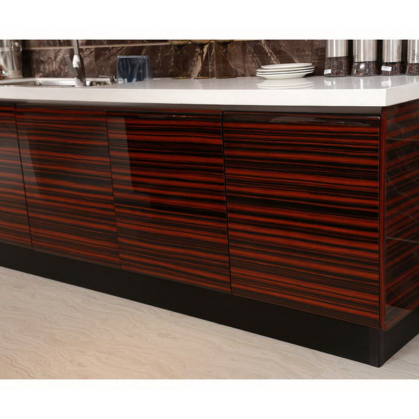 OP13-285: Lacquer and High Glossy Wood Veneer Kitchen Cabinet Image